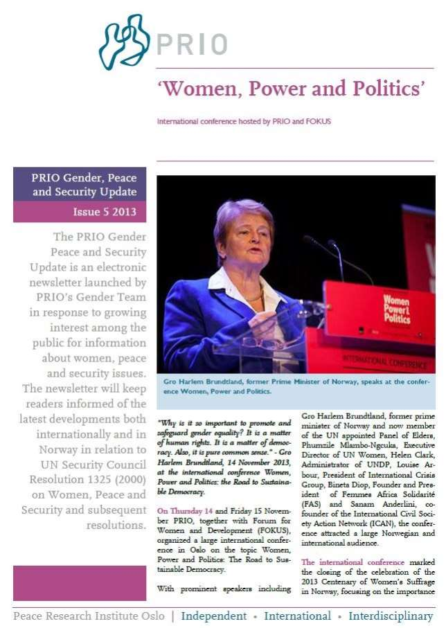 PRIO Gender, Peace and Security Update (Issue 5-2013)