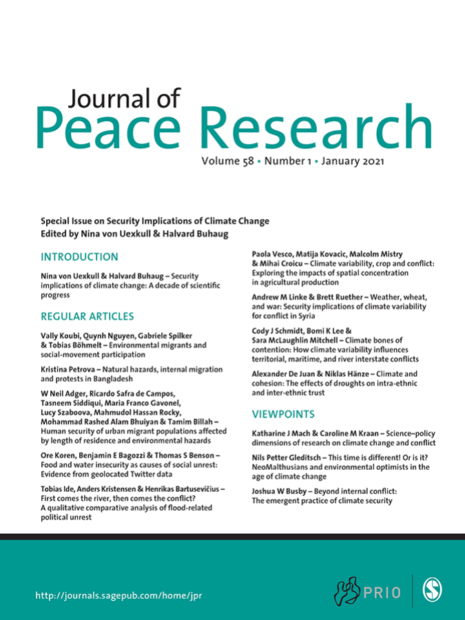 New special issue on climate change and conflict