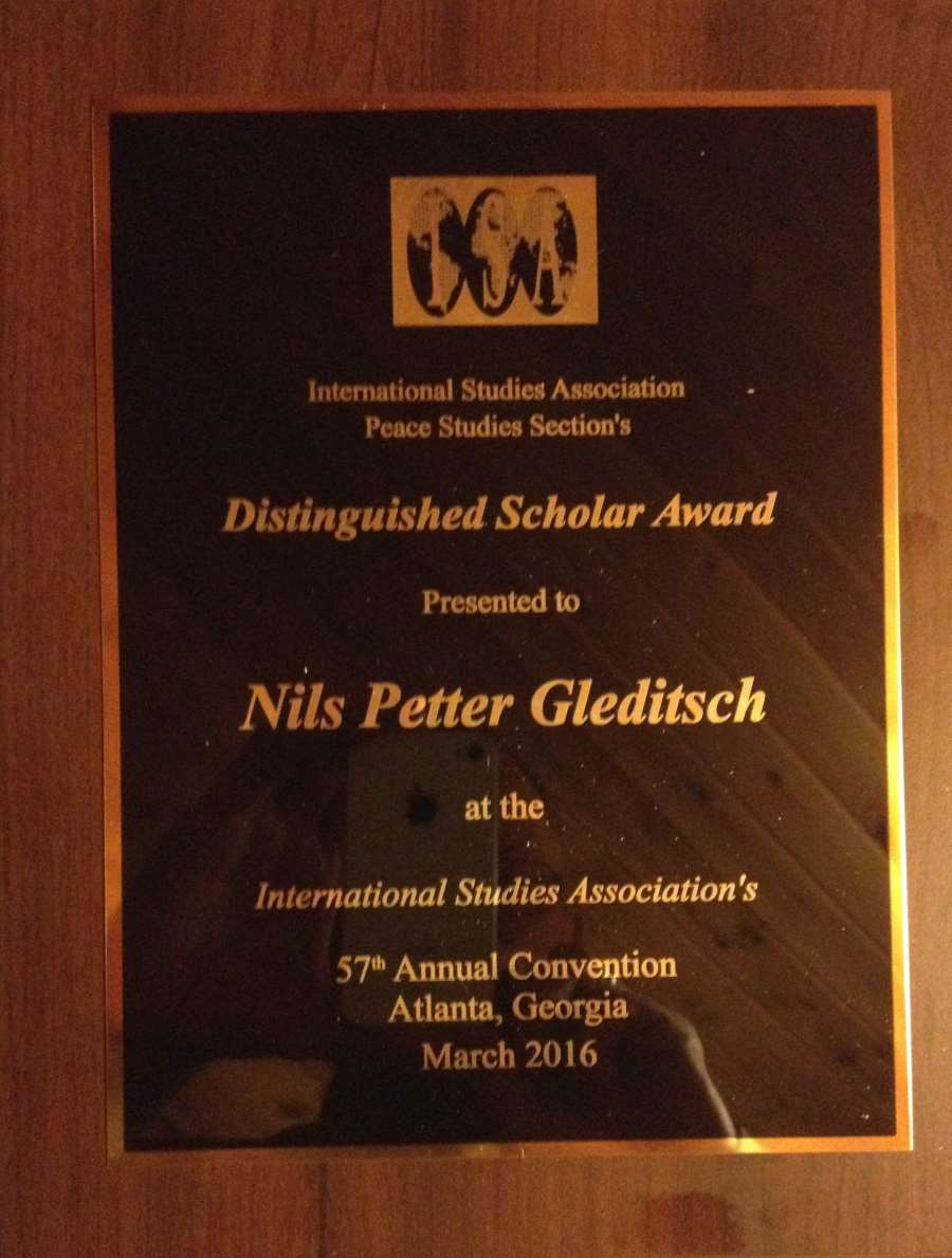 Nils Petter Gleditsch Honored at ISA 2016