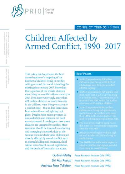 Children Affected by Armed Conflict, 1990–2017