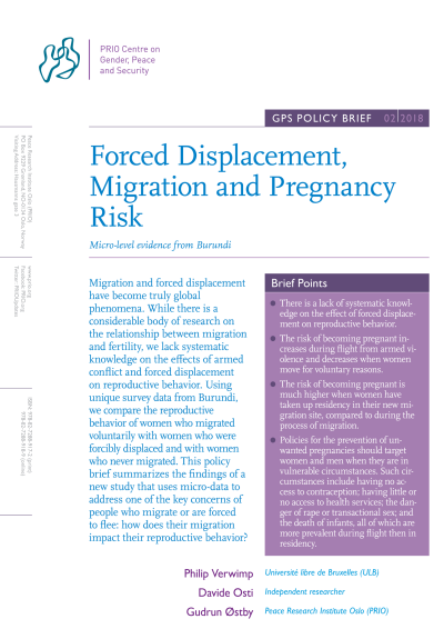 Forced Displacement, Migration and Pregnancy Risk: Micro-level evidence from Burundi