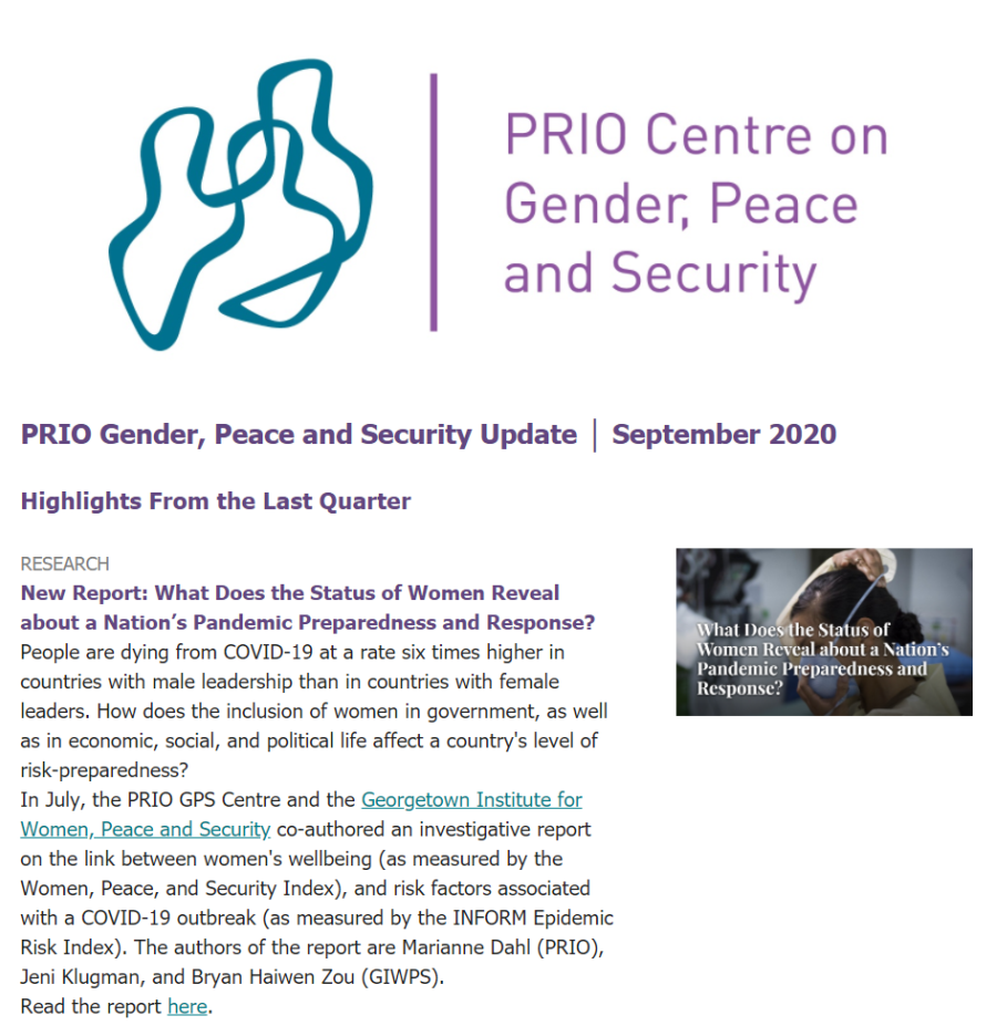 September Issue of Gender, Peace and Security Update is Out
