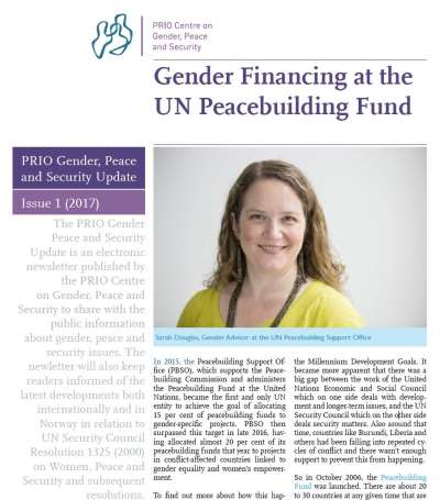 Out now: New issue of PRIO Gender, Peace and Security Update (1-2017)