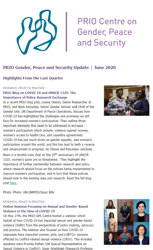 June Issue of Gender, Peace and Security Update is Out