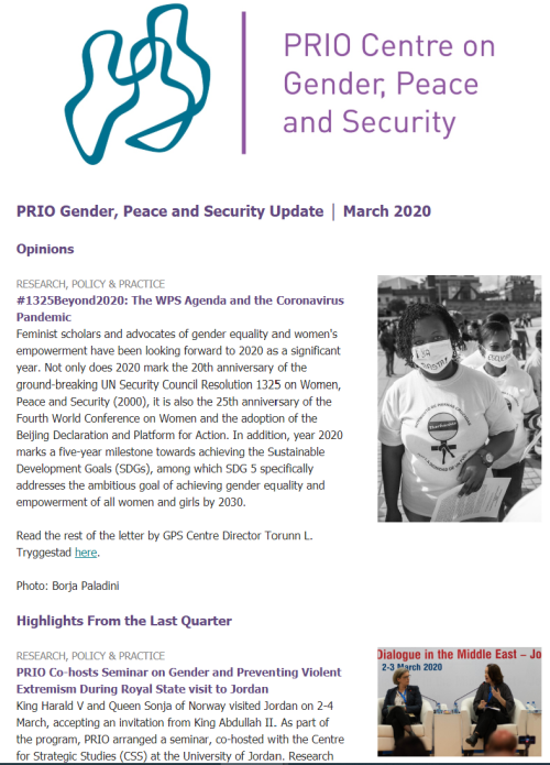 March Issue of Gender, Peace and Security Update is Out