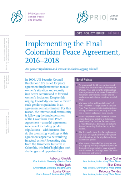 Implementing the Final Colombian Peace Agreement, 2016–2018