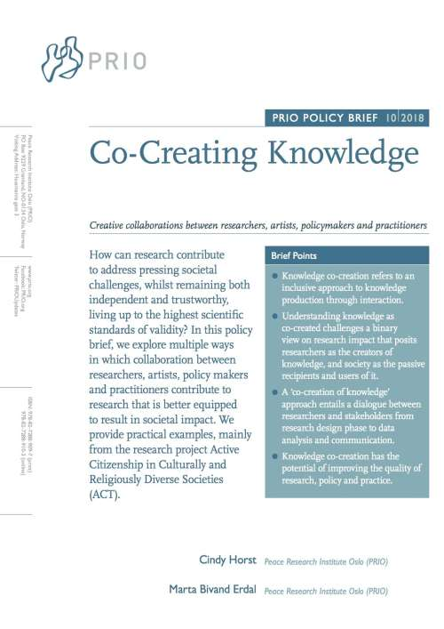 New PRIO Policy Brief on Co-Creation of Knowledge