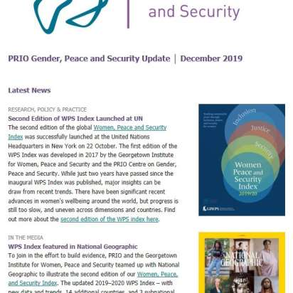 December Issue of Gender, Peace and Security Update is Out