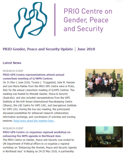PRIO Gender, Peace and Security Update - June 2018