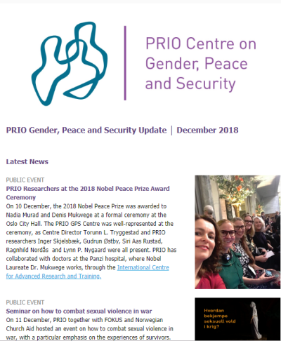 PRIO Gender, Peace and Security Update - December 2018