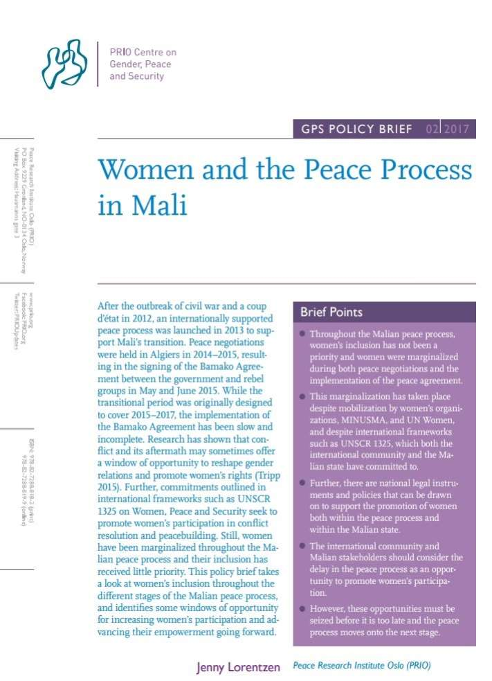 New GPS Policy Brief on Women in the Mali Peace Process