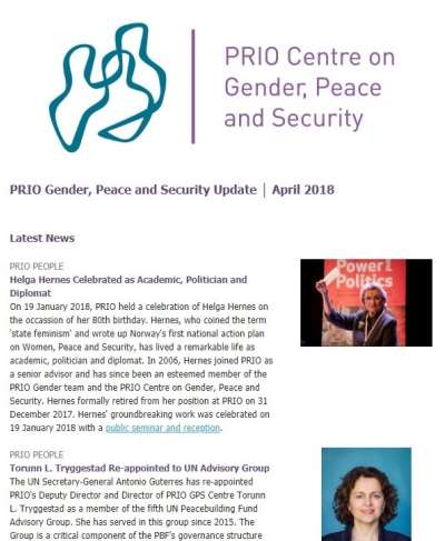 PRIO Gender, Peace and Security Update – April 2018