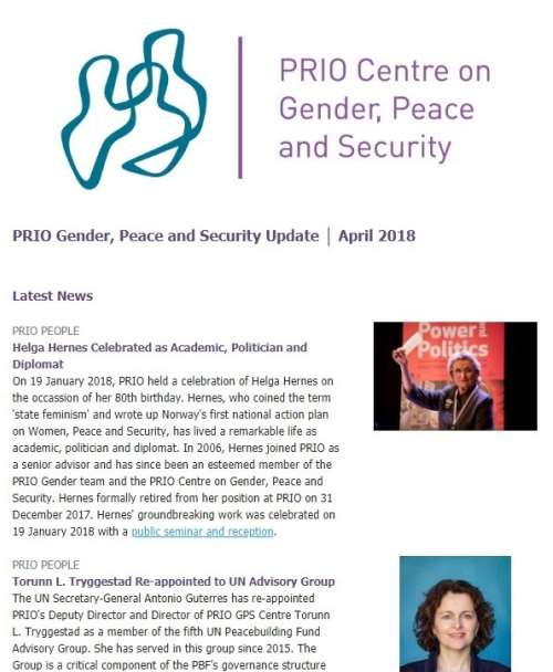 New Issue of PRIO Gender, Peace and Security Update Out