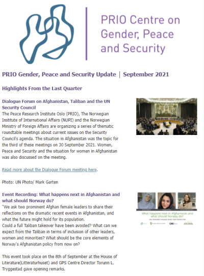 September Issue of the Gender, Peace and Security Update is Out