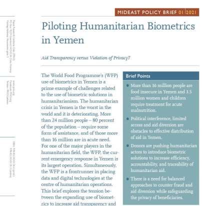 New MidEast Policy Brief on Humanitarian Biometrics in Yemen