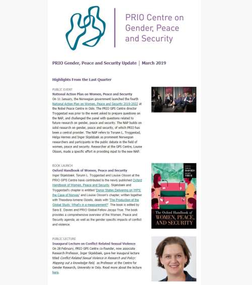 New Issue of Gender, Peace and Security Update Out