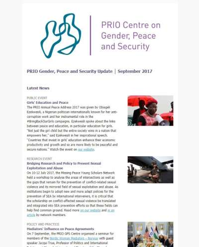 New Issue of PRIO Gender, Peace and Security Update (Sept 2017)