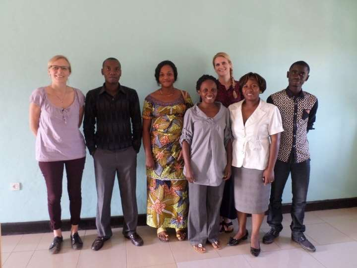 ICART project team. From left: Susanne Allden, Clovis Amani Kasherwa, Rosalie Biaba Apasa, Aline Cikara Mutokambali, Ragnhild Nordås (visiting from PRIO), Dr. Tina Amisi and Ali Bitenga. In 2015, John Quattrochi joined the team (not in the picture).
