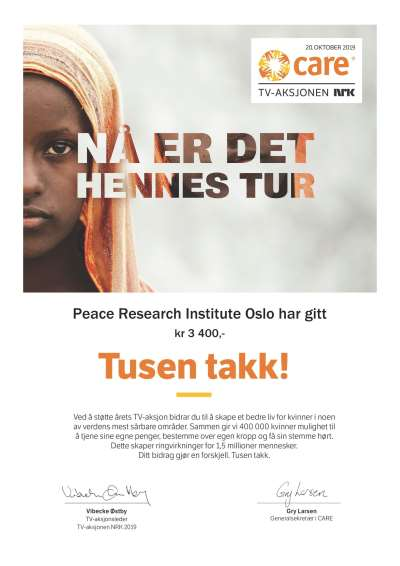 PRIO Matches Employee Donations for NRK CARE Telethon