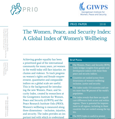 New PRIO Paper on the Women, Peace and Security Index